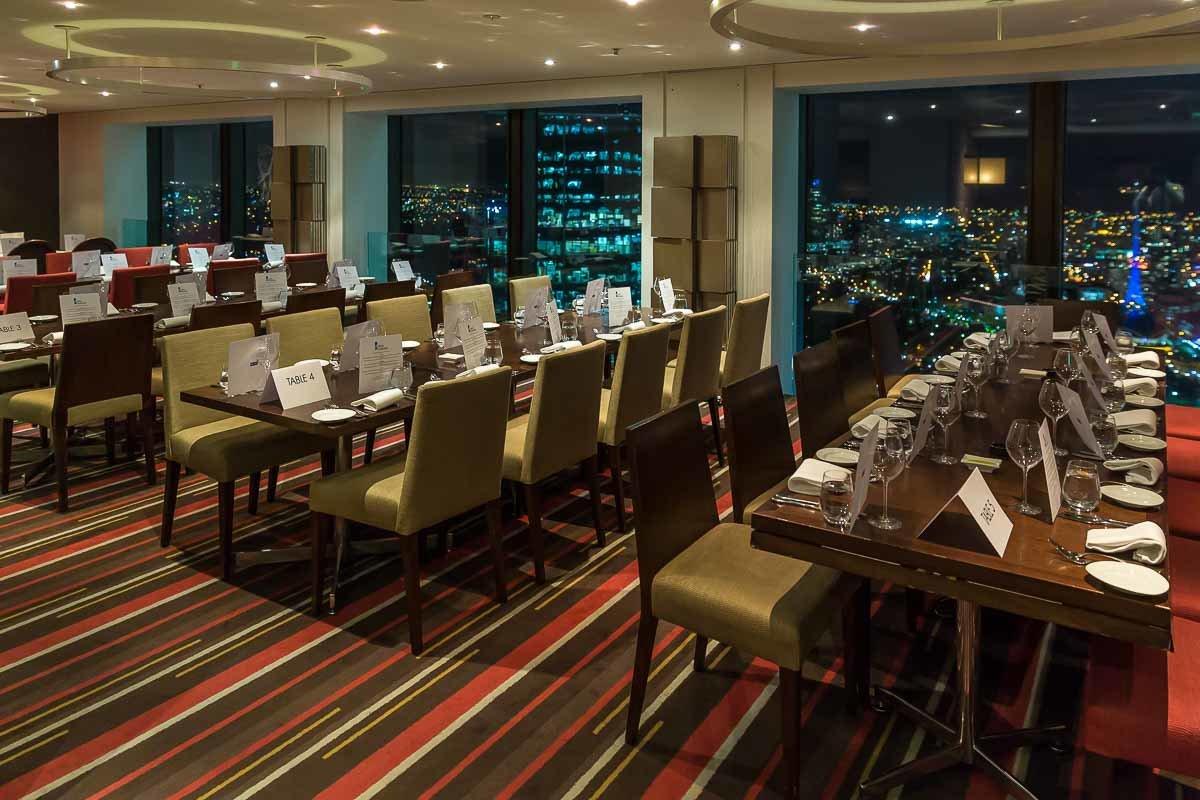 Tables prepared for business dinner
