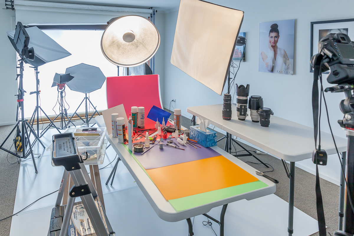 Studio prepared for a food photography session