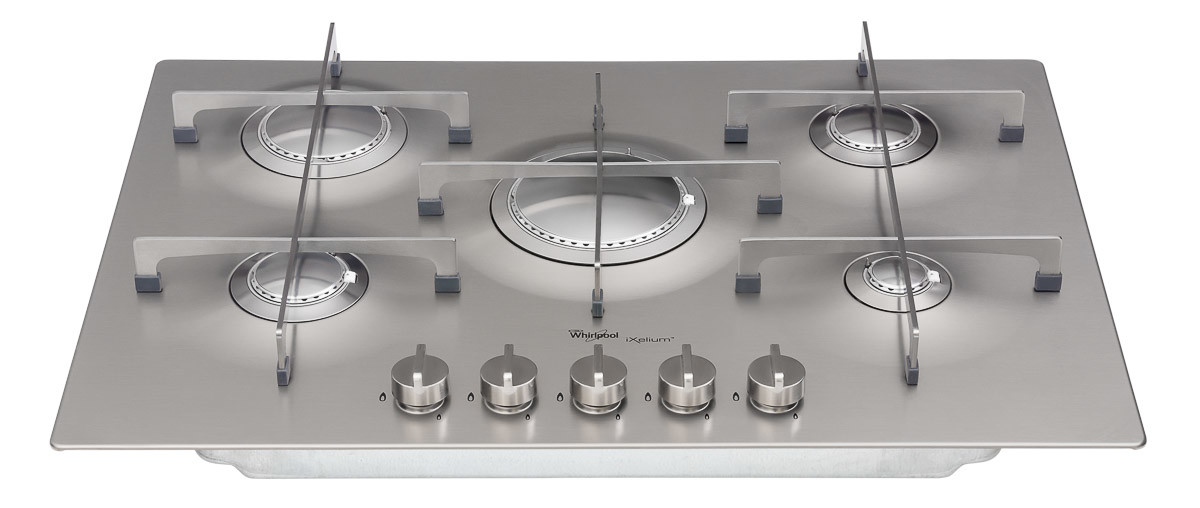 Gas cook-top front on angled down shot