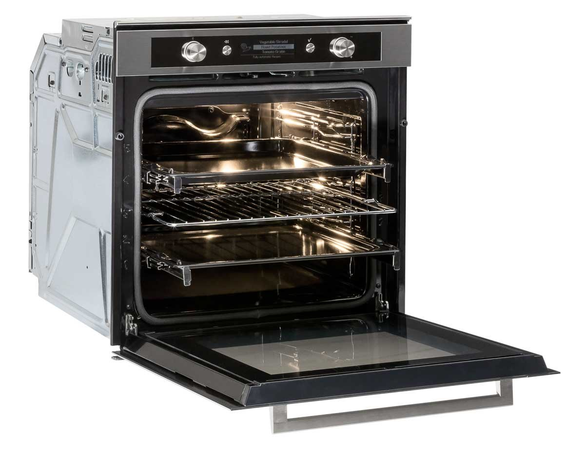 Built in oven 45 angle with door open light on and racks pulled out slightly