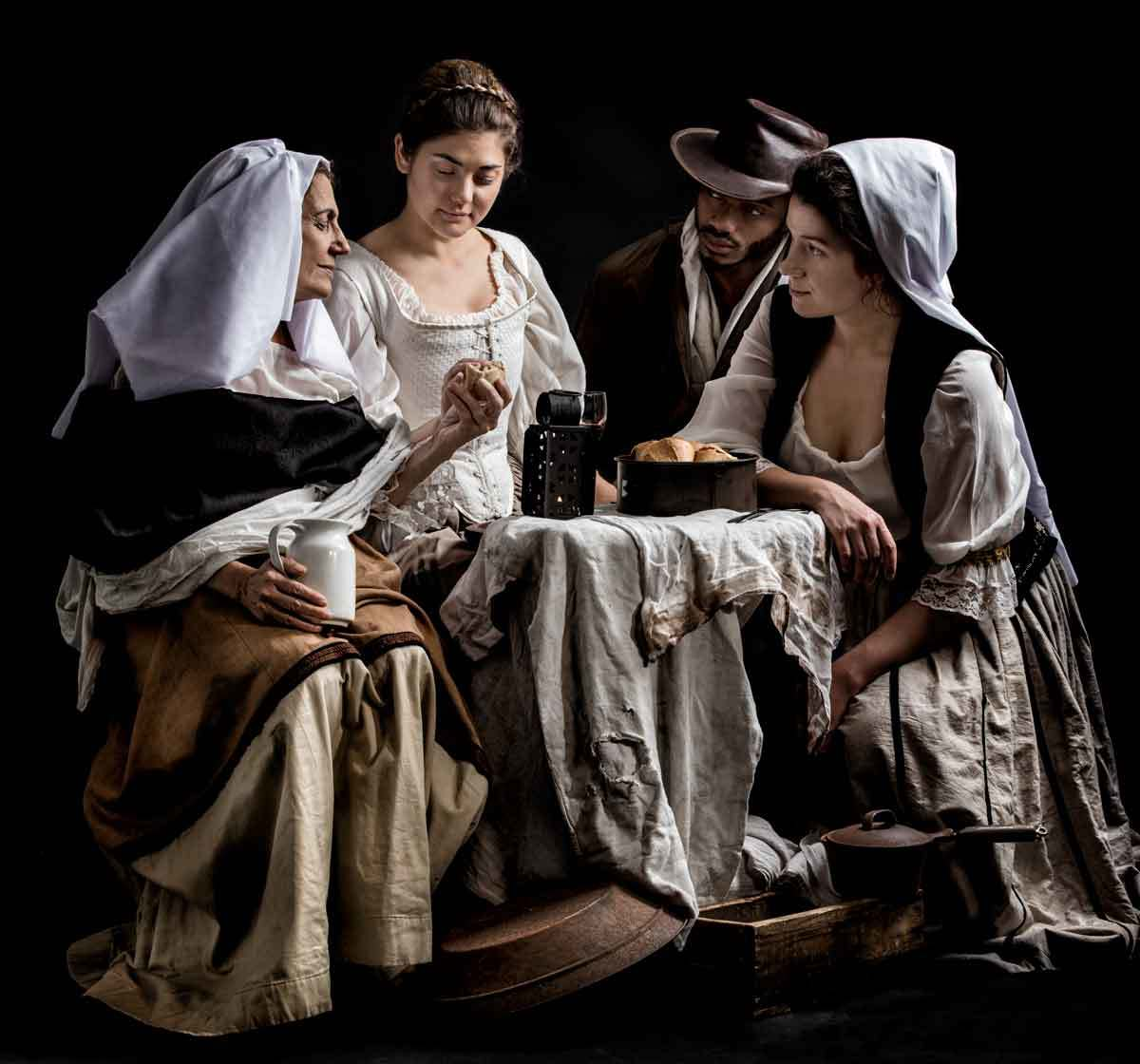 Fine art photography in studio inspired by Le Peasant family by Louis Le Nain