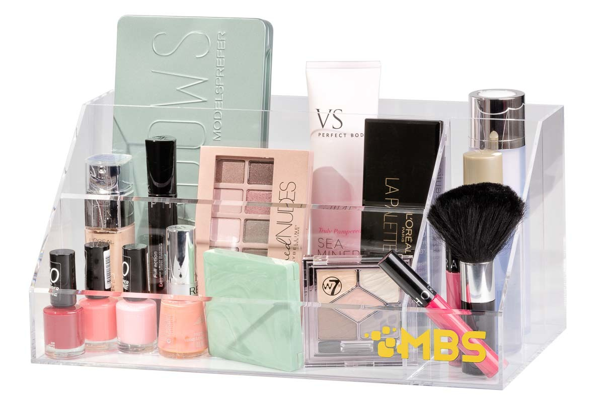 Acrylic storage with cosmetics