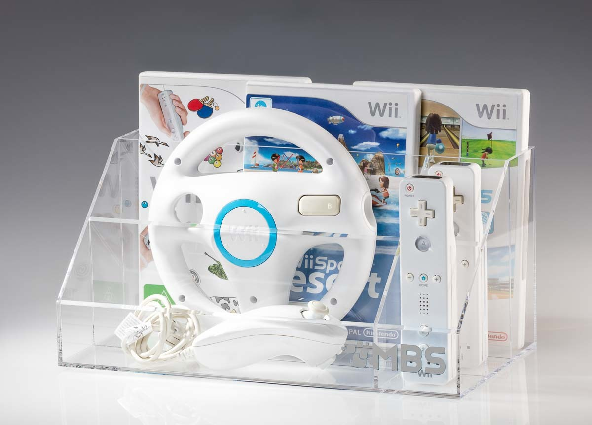Acrylic storage with Wii and accessories