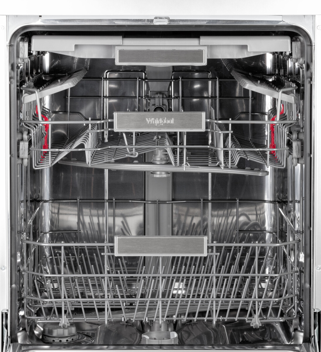 Advertising Product photography of whirlpool dishwasher front on door closeup of trays