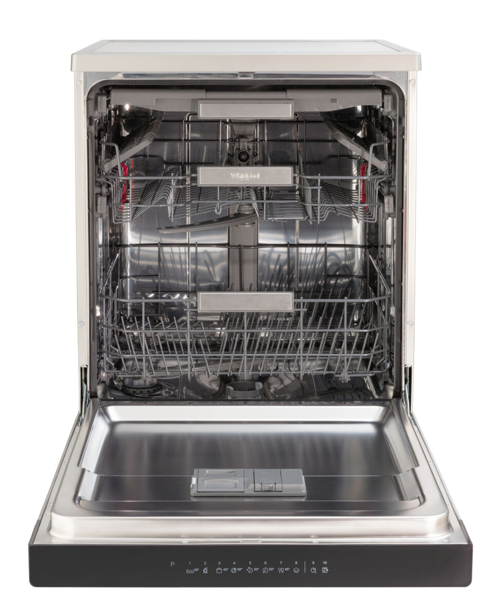 Advertising Product photography of whirlpool dishwasher front on door fully open