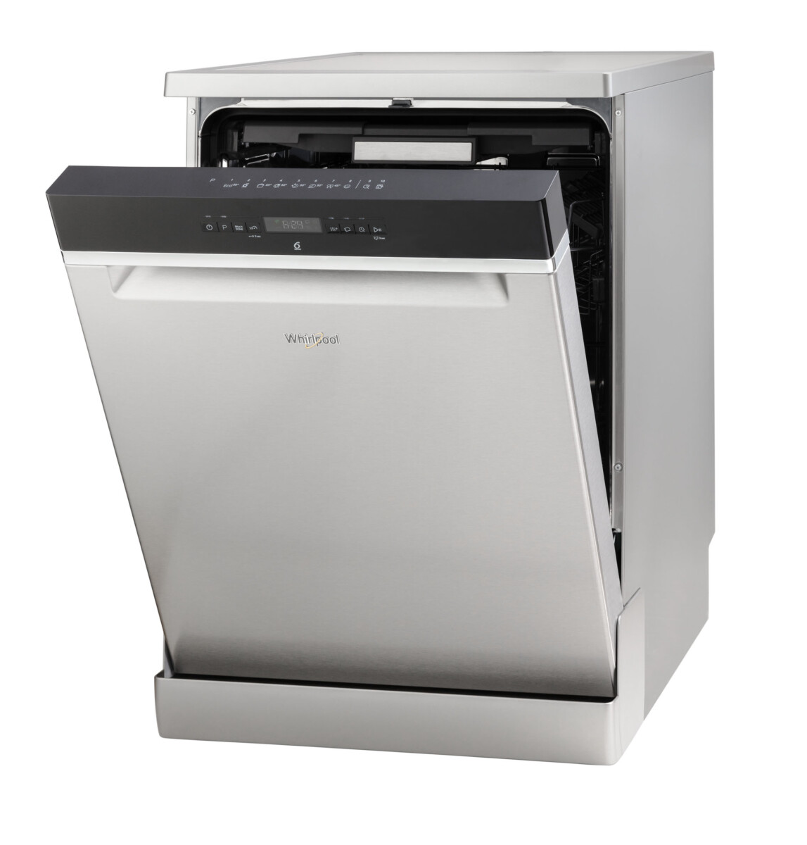Advertising Product photography of whirlpool dishwasher front side view door slightly open