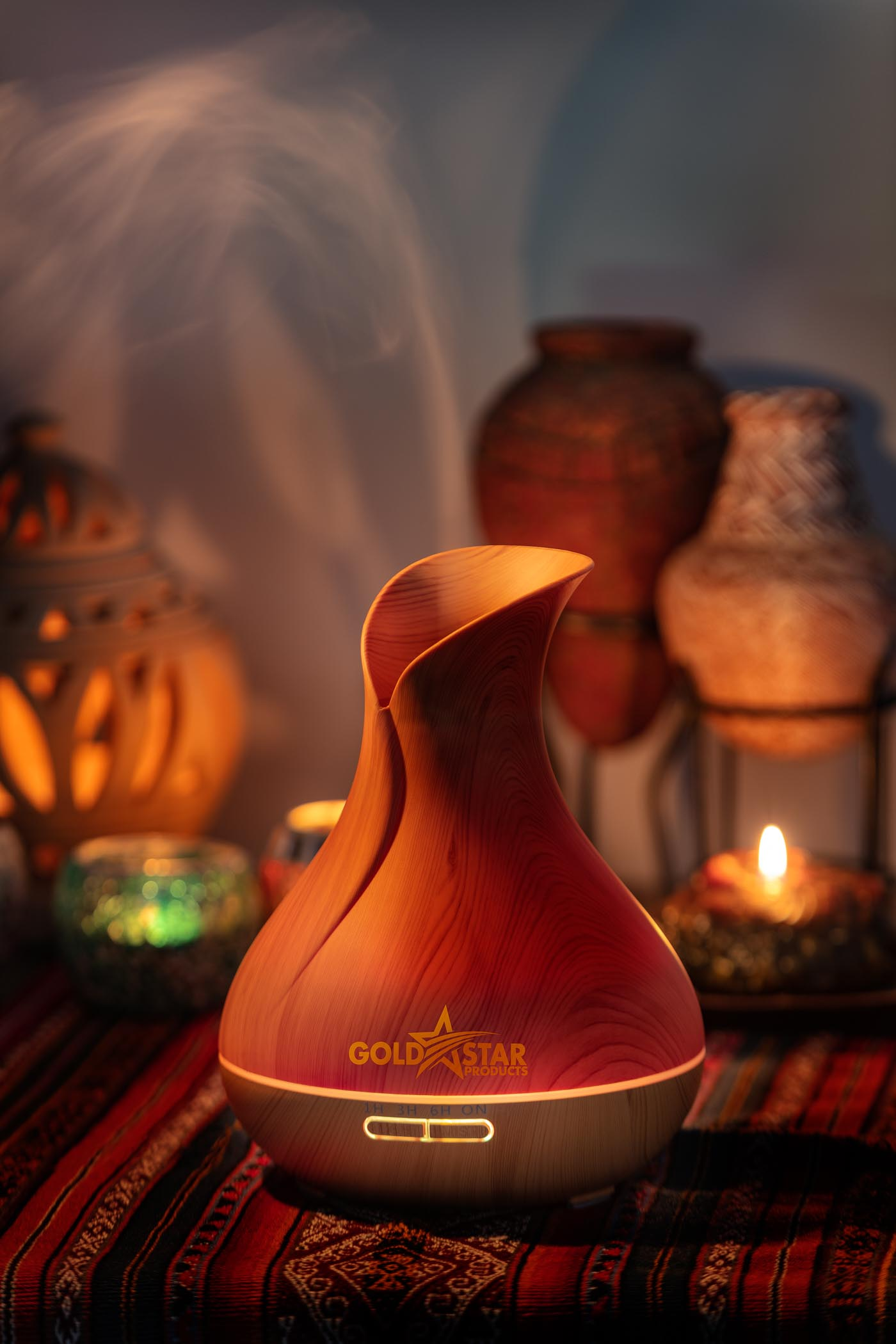 Amazon product photography sample of lifestyle product photography with diffuser larger open and candle mood