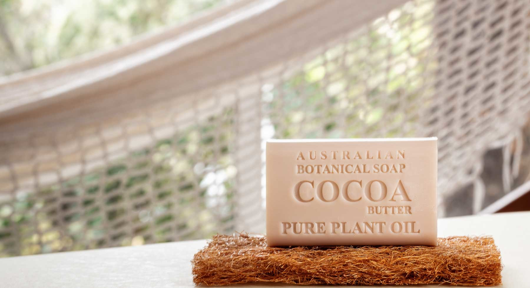 Australian Botanic Soap Cocoa soap on natural fibre base