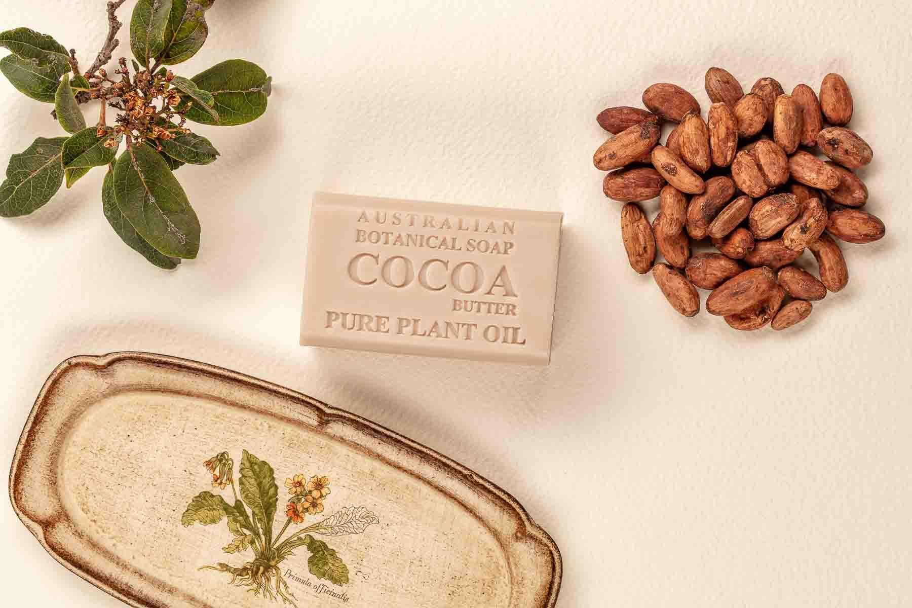Australian Botanic Soap Cocoa with bean over the top view - Lifestyle advertising product photo