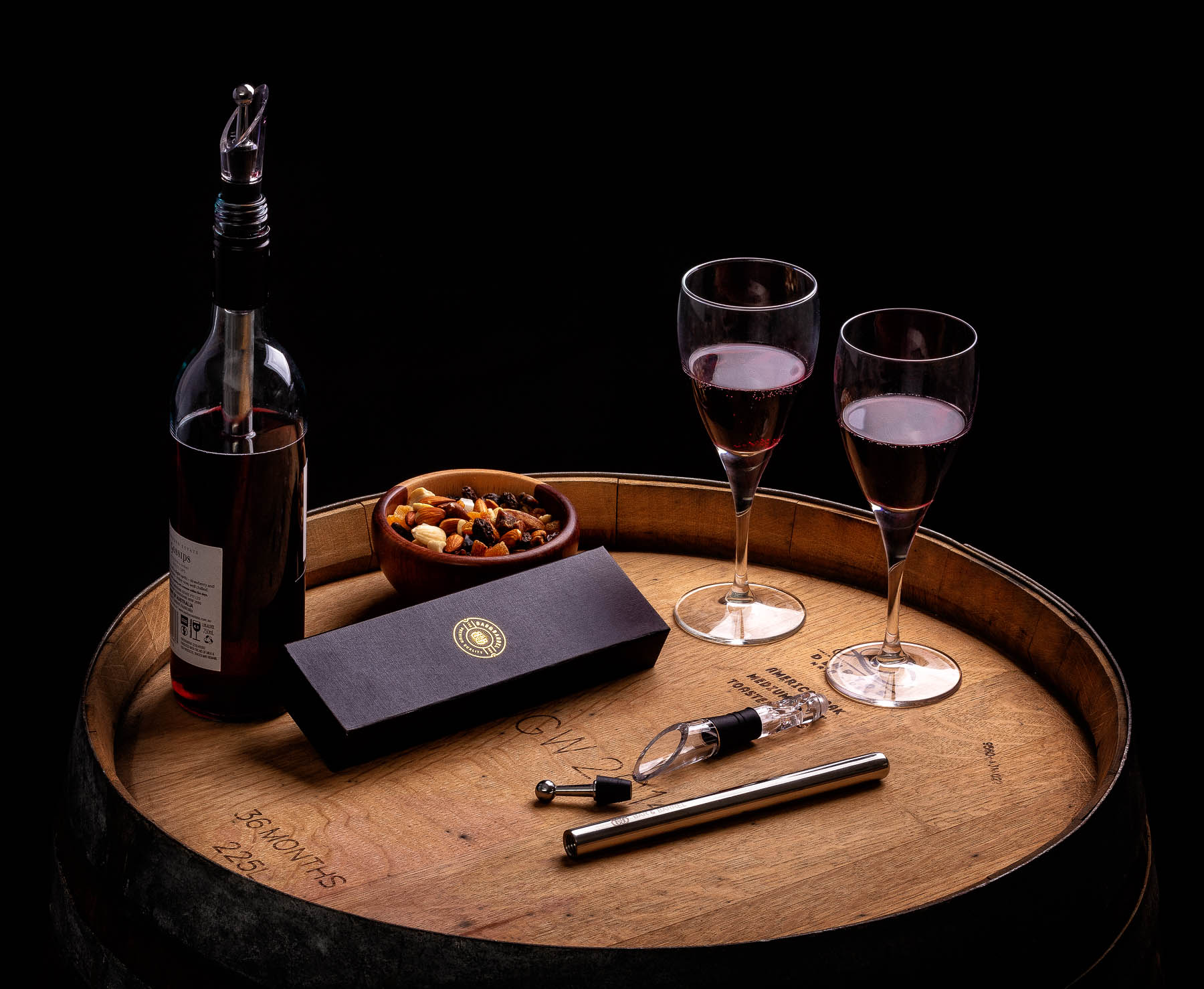 Bar and Barrel Wine stopper Lifestyle product of Barrel for Amazon e-commerce