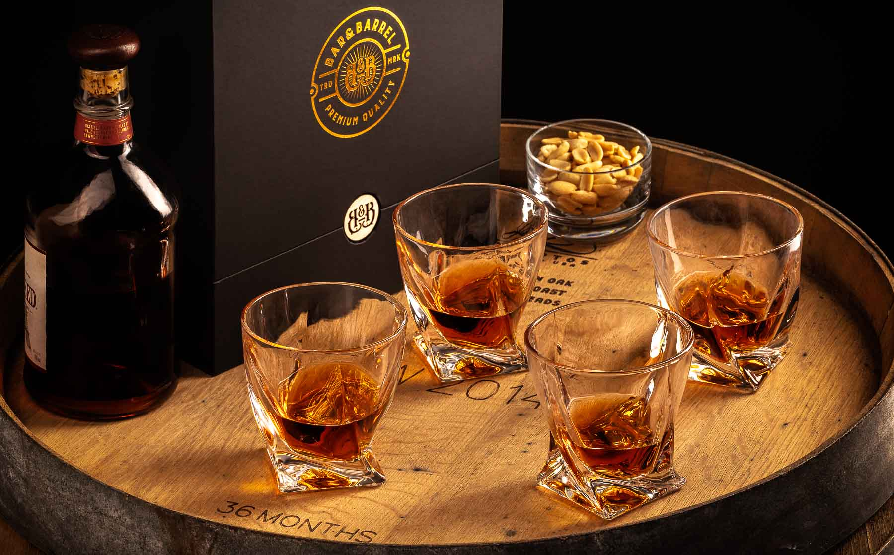 Bar&Barrel Whisky Cup group of 4 slim on barrel - Advertising product photography sample