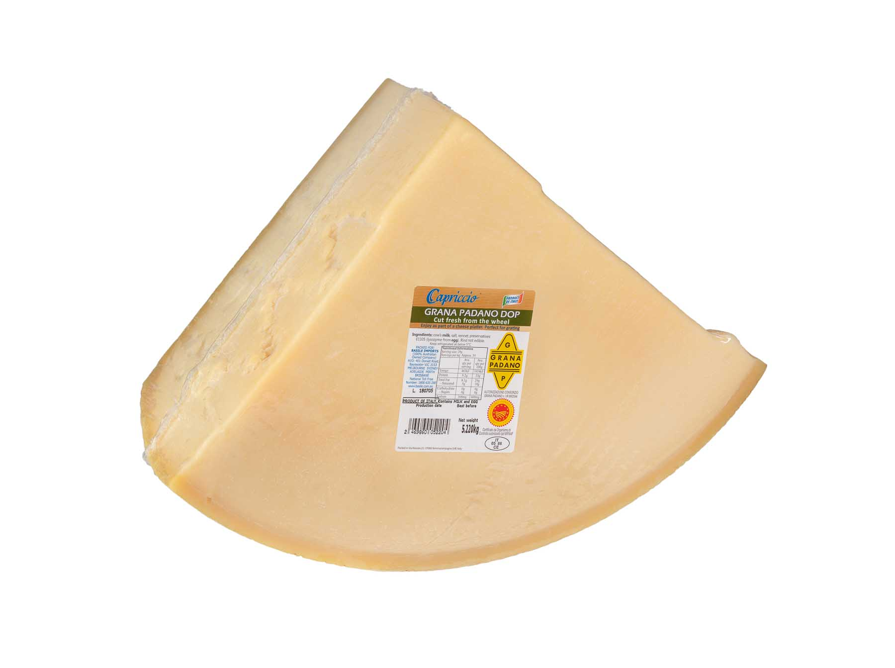 Cheese Grana Padano DOP 5.22Kg - Product Photography sample
