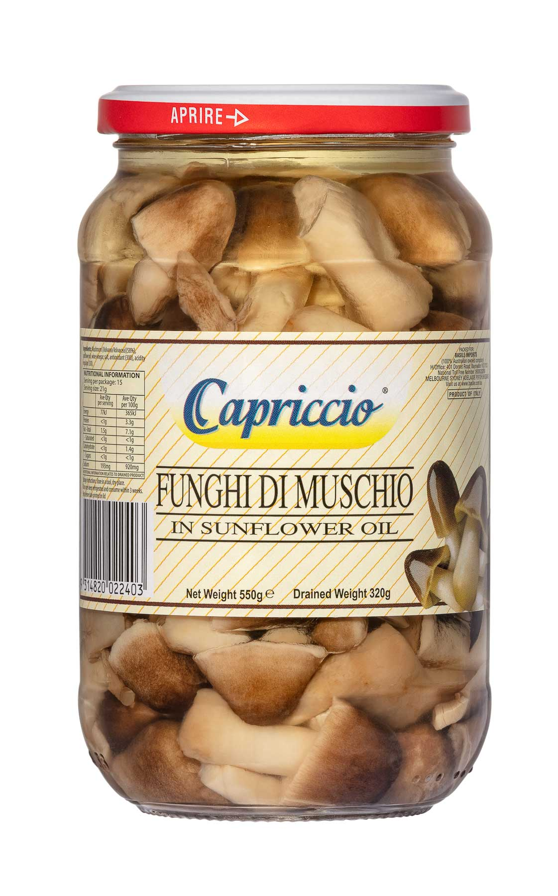Funghi di Muschio in Sunflower Oil 550g  - Product Photography sample