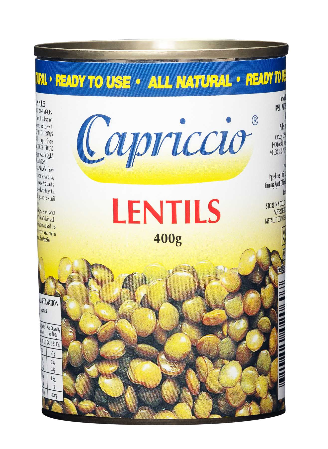 Lentils 400g - Product Photography sample