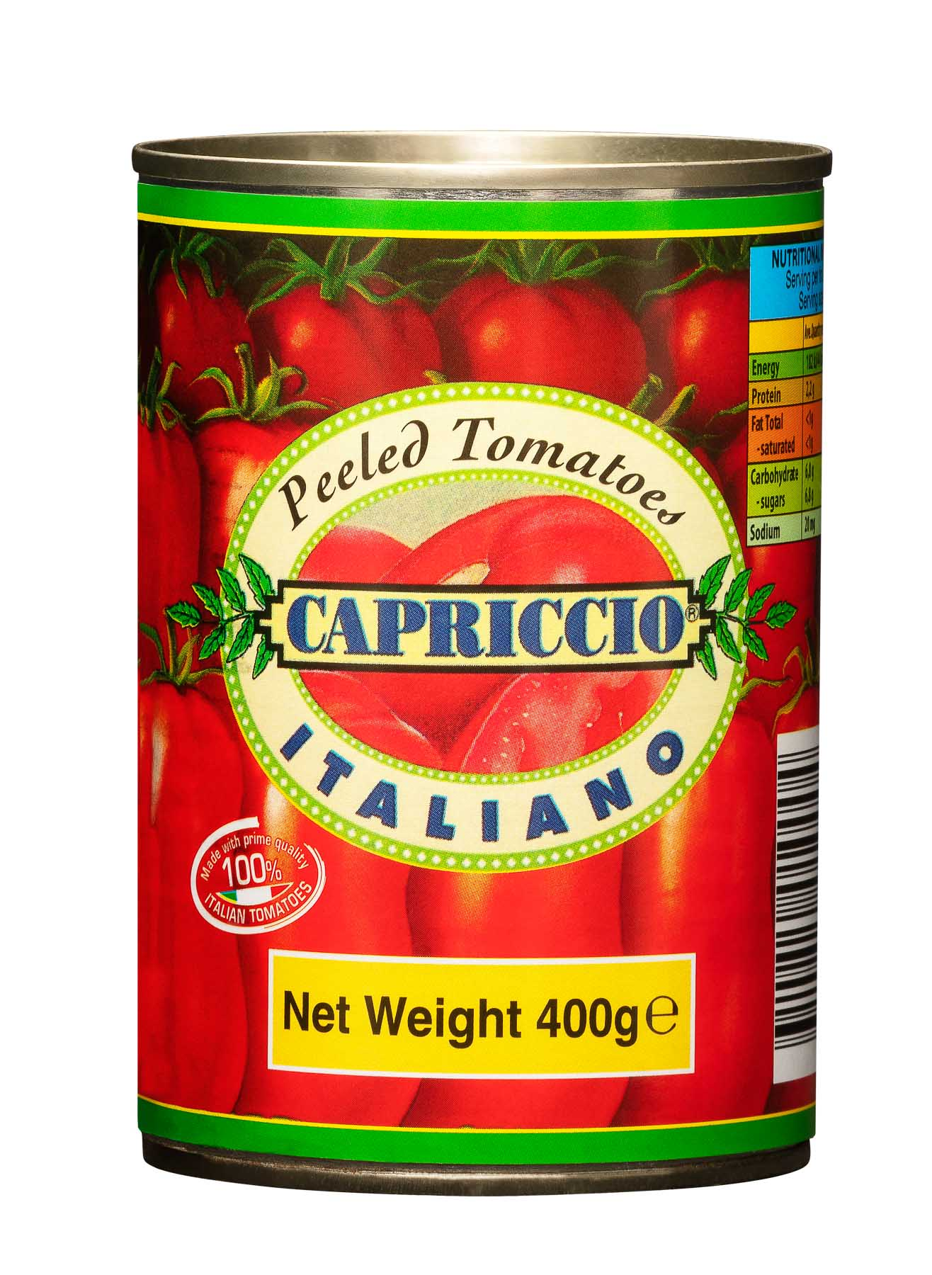 Pelled Tomatoes Italiano 400g - Product Photography sample