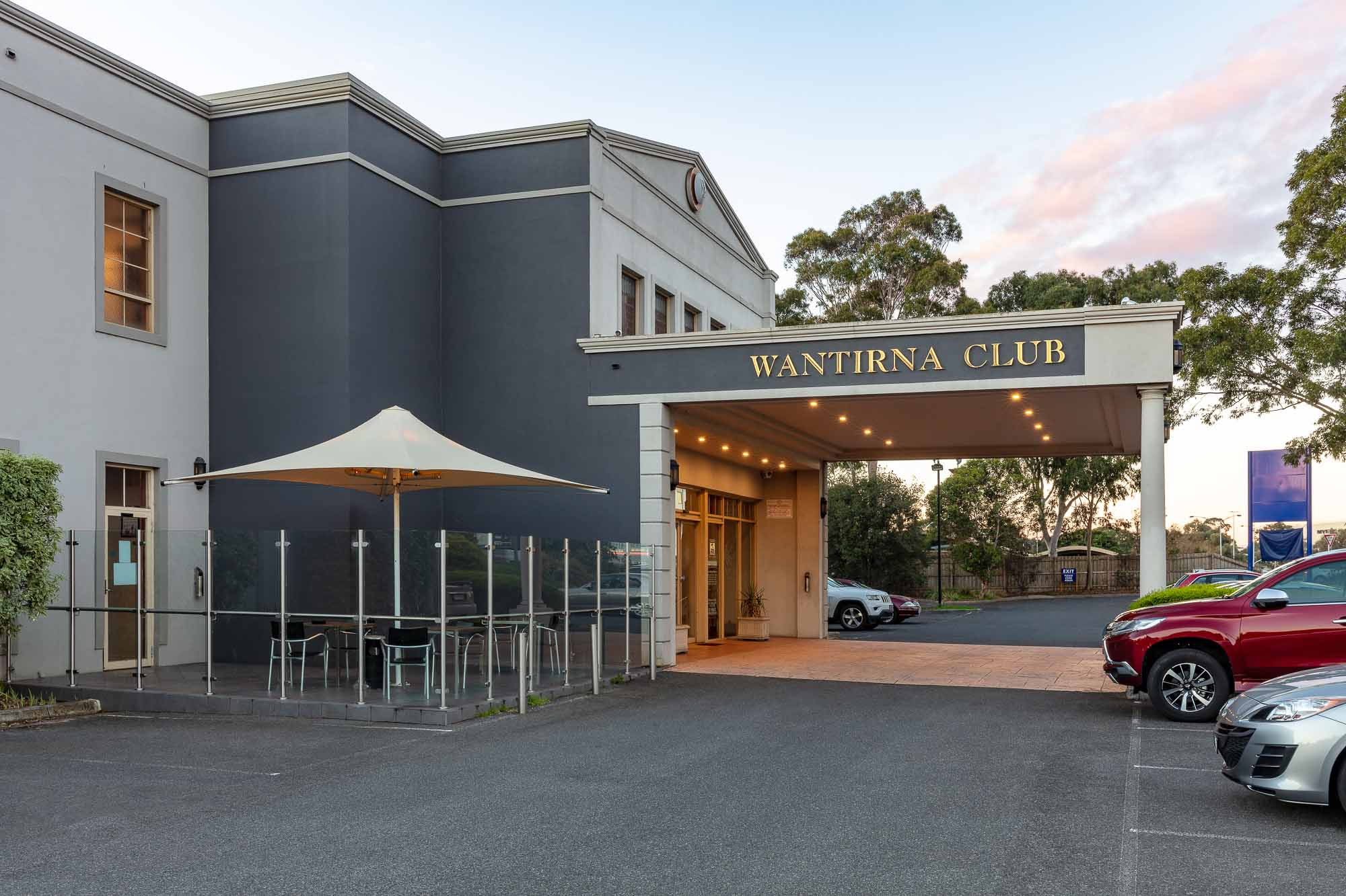 Commercial photography sample - Wantirna Club front of building left side closer