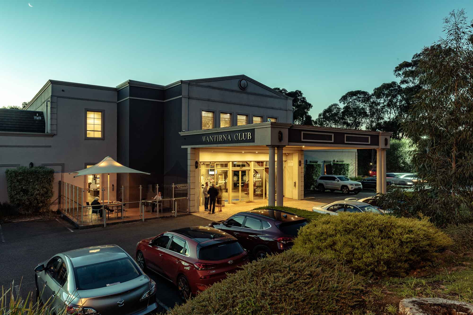 Commercial photography sample - Wantirna Club front of building left side early night
