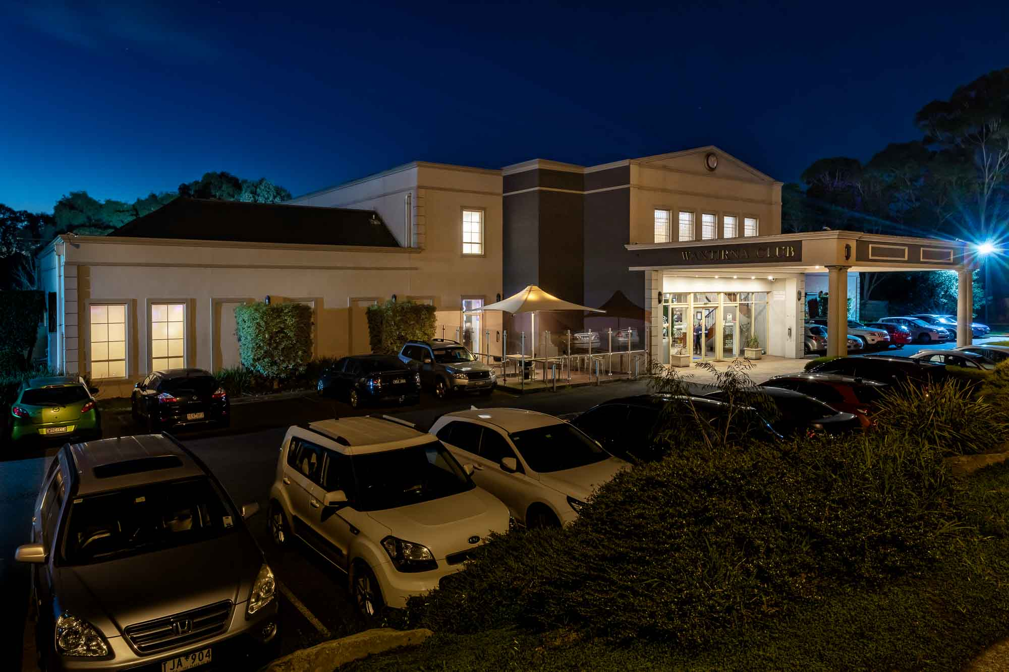 Commercial photography sample - Wantirna Club front of building left side night
