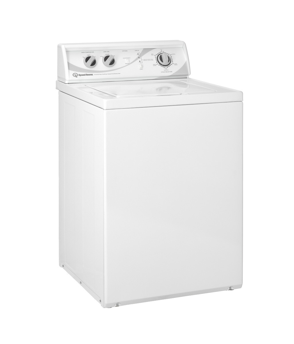 Commercial top load washer Speed Queen right side angled view