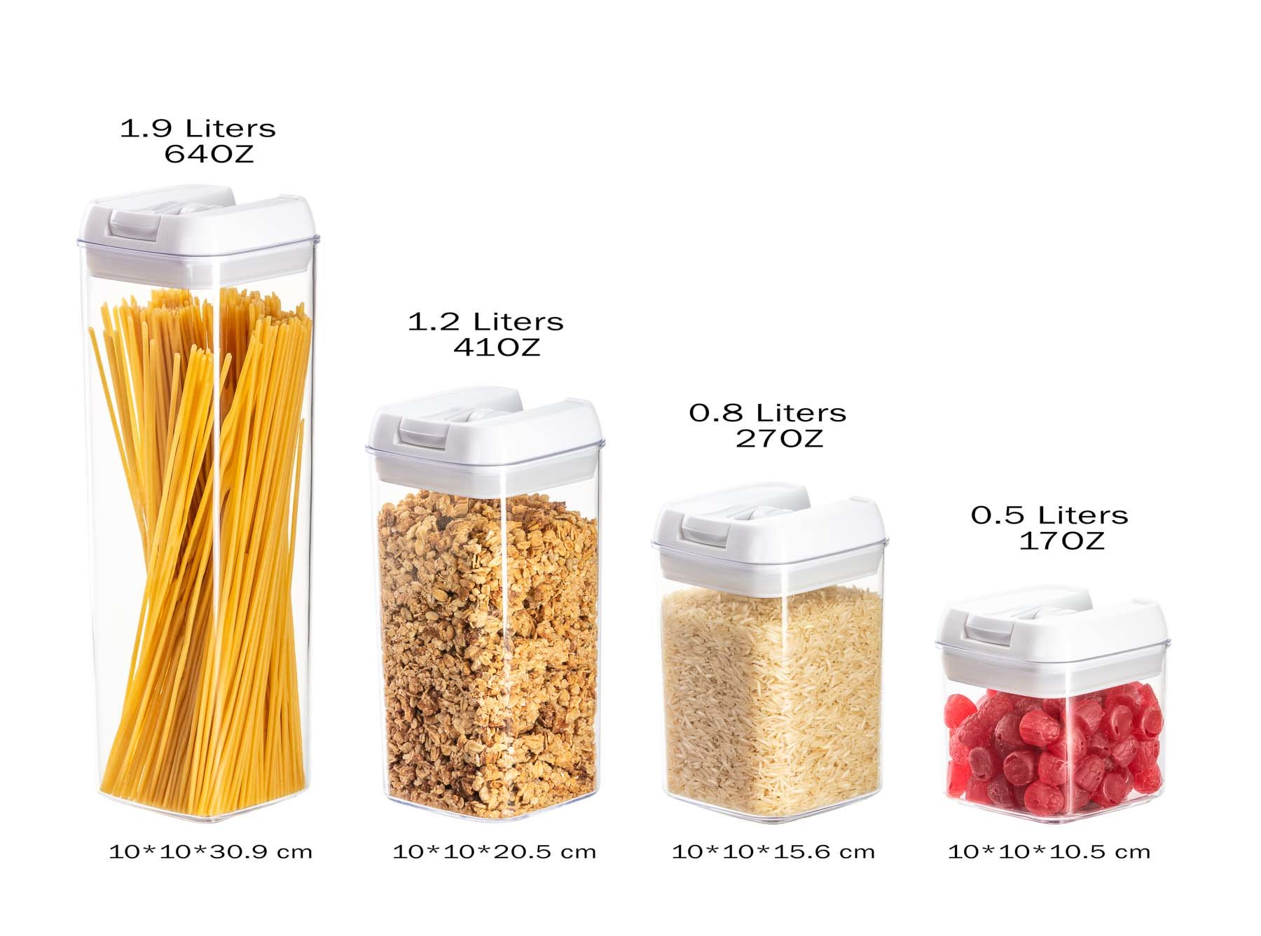 Amazon product photography sample of main image showing multiple products - Containers with size text