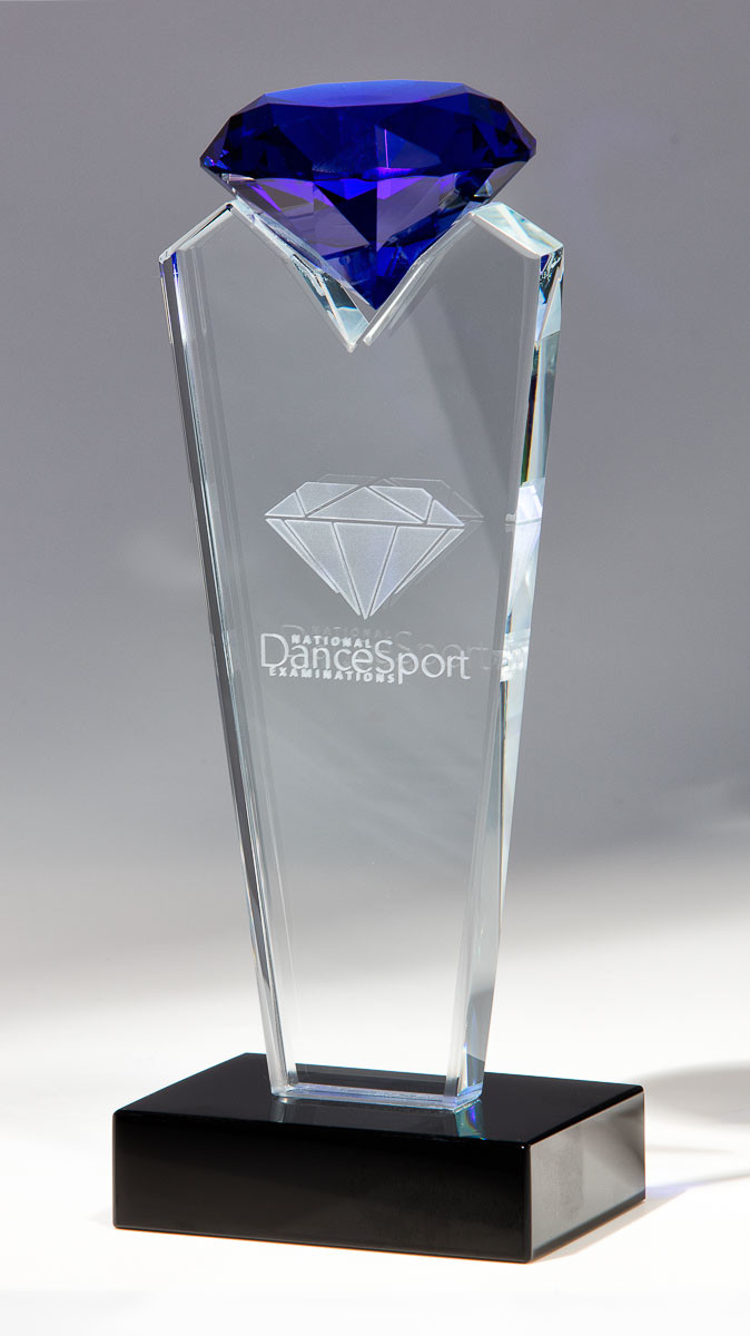 National Dancesport Examinations trophies with blue stone - Advertising photography