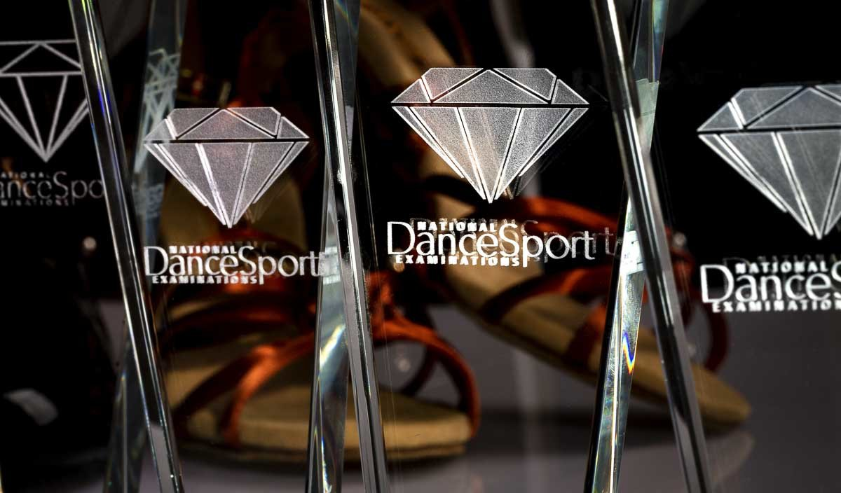 National Dancesport Examinations set of trophies in line - Advertising photography