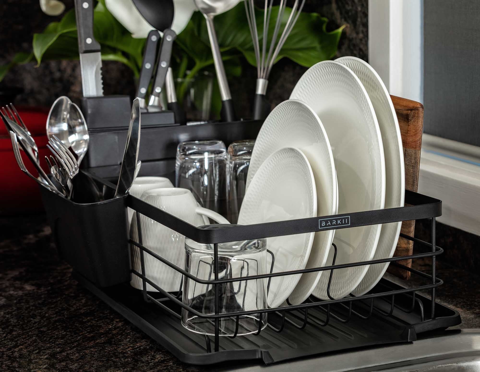 Dish Rack Product in use dry plates - Product photo for Amazon