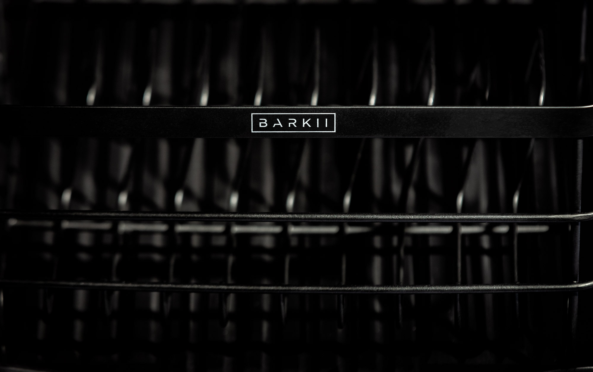 Dish Rack Barkii logo closeup with black background