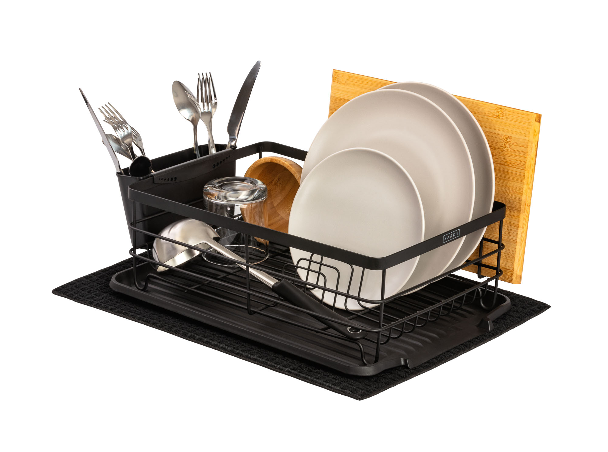 Dish Rack Barkii with casual beige dinner set