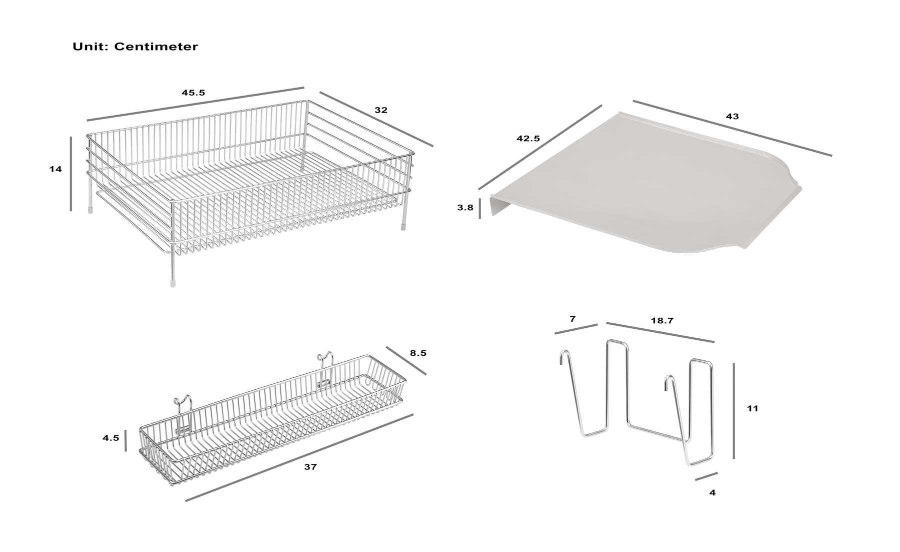 Dish Rack Four parts composite - - Product photography for Amazon