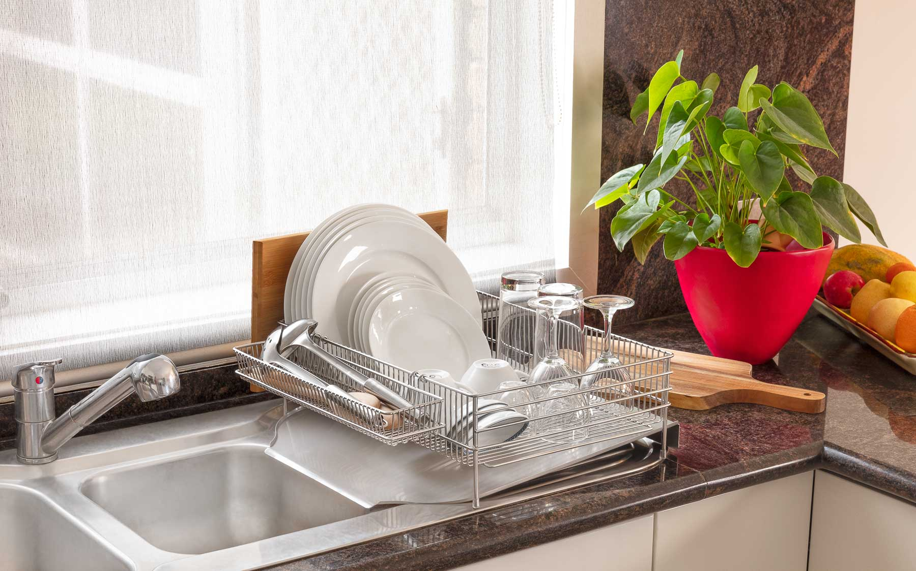 Dish Rack In Kitchen with items lifestyle - Product photography for Amazon