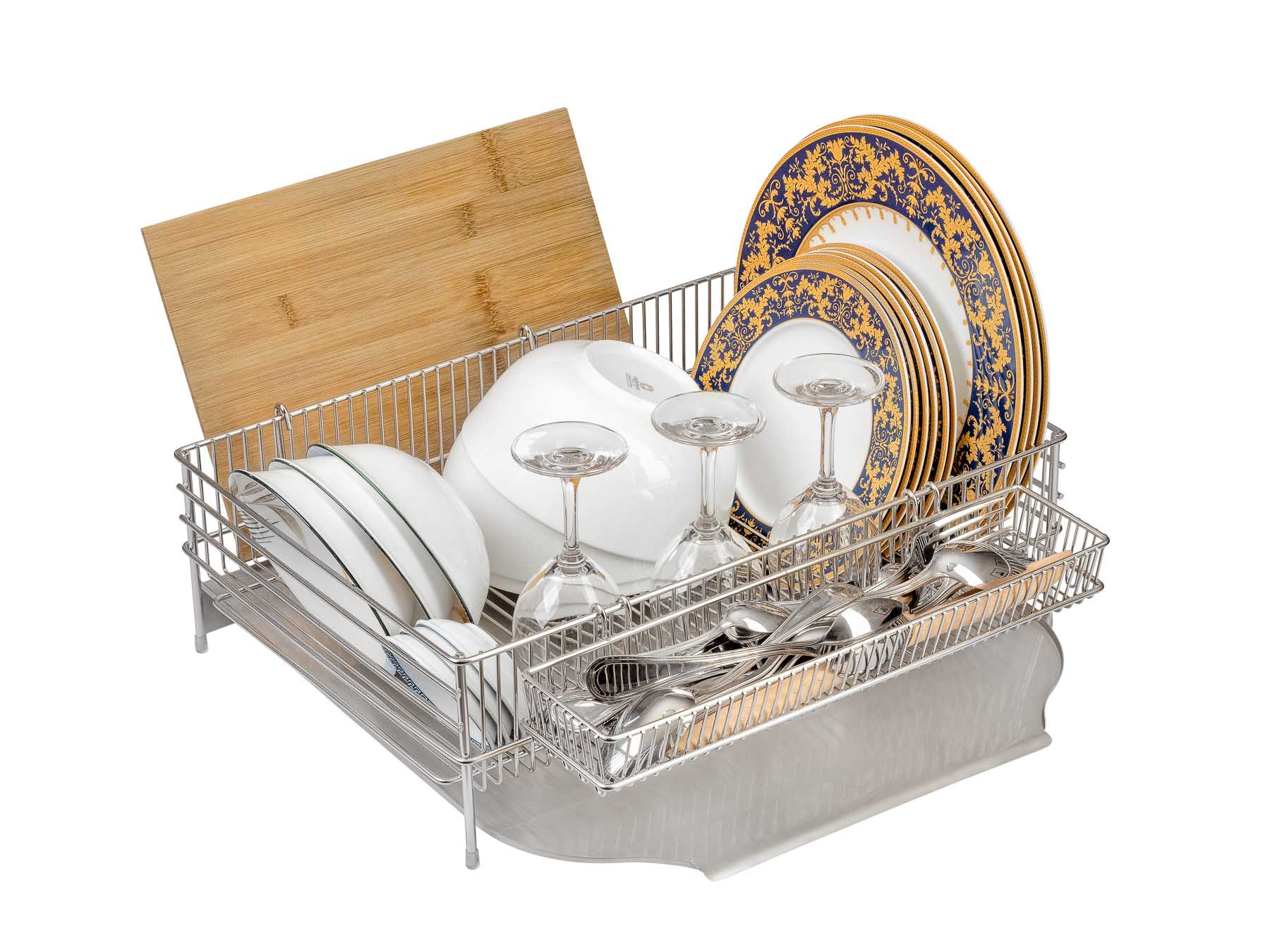 Dish Rack with Plates cups and board - Product photography for Amazon