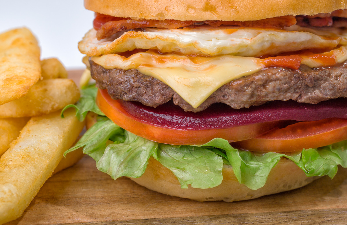 Egg Cheese Ozzy Burger closeup_Fast Food