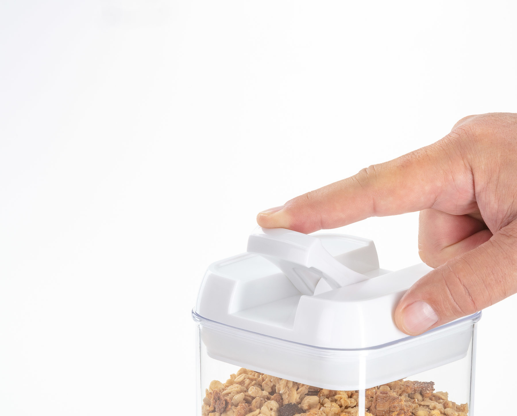 Amazon product photography sample of closup of product feature with finger opening container