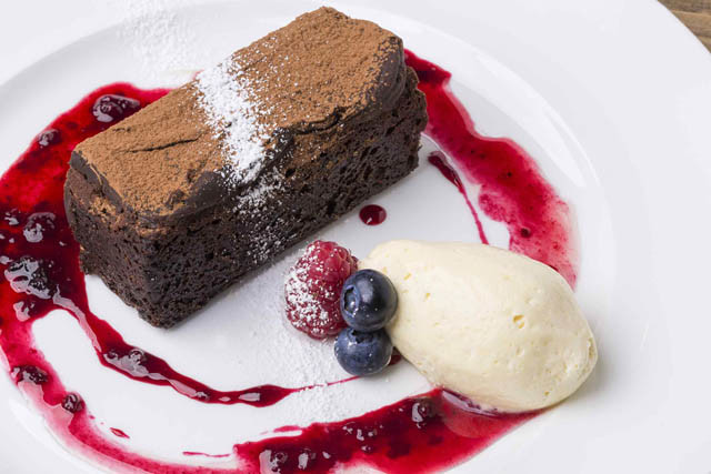 Food photography sample desert chocolate cake with ice cream and fruit 640px