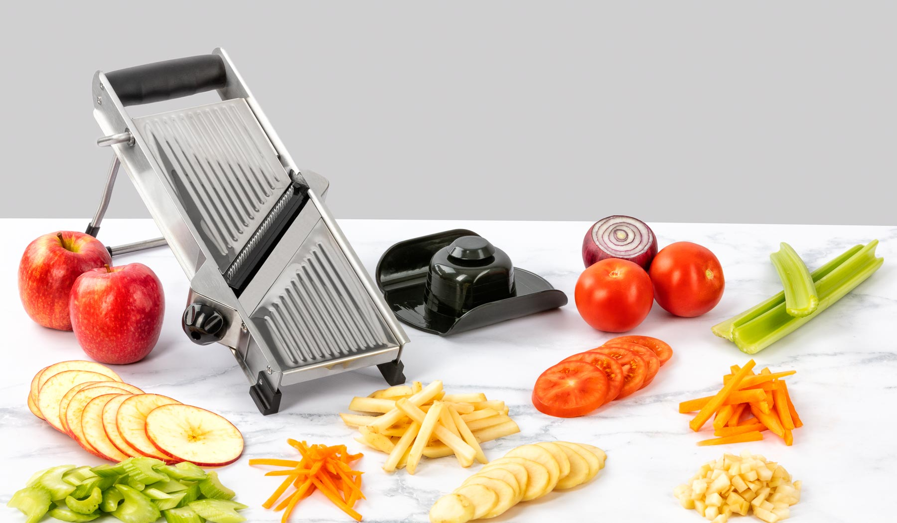 Forever Sharp Vegetable slices stainless steel lifestyle product photography sample