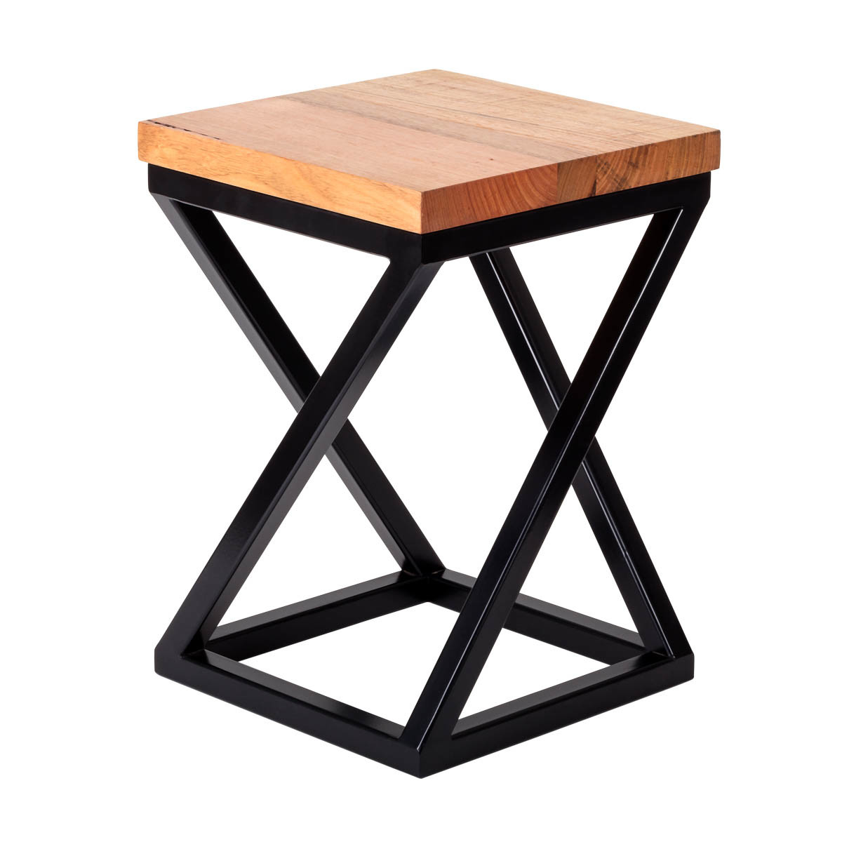 Furniture stools Hairpin Legs Stool diagonal bar black 90 degree view square top