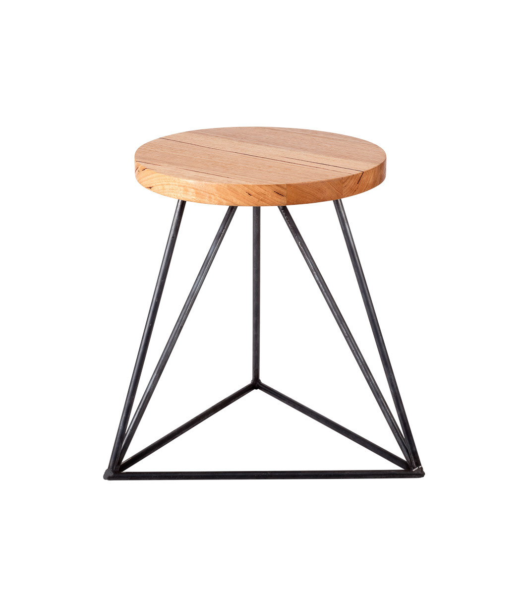 Furniture stools Hairpin Legs Stool industrial triangle front view round top