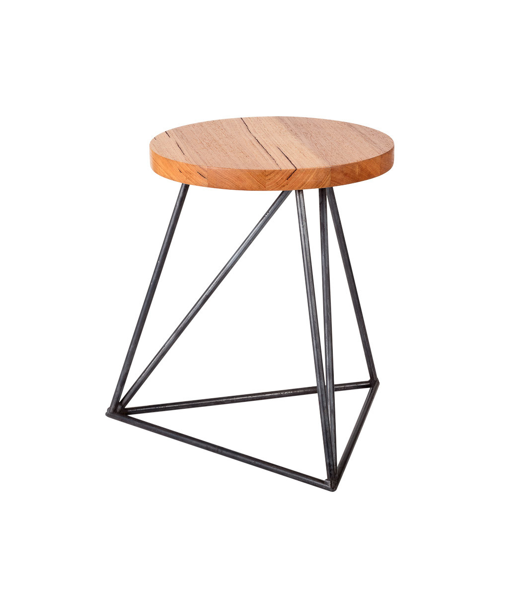Furniture stools Hairpin Legs Stool industrial triangle 30 degree view round top