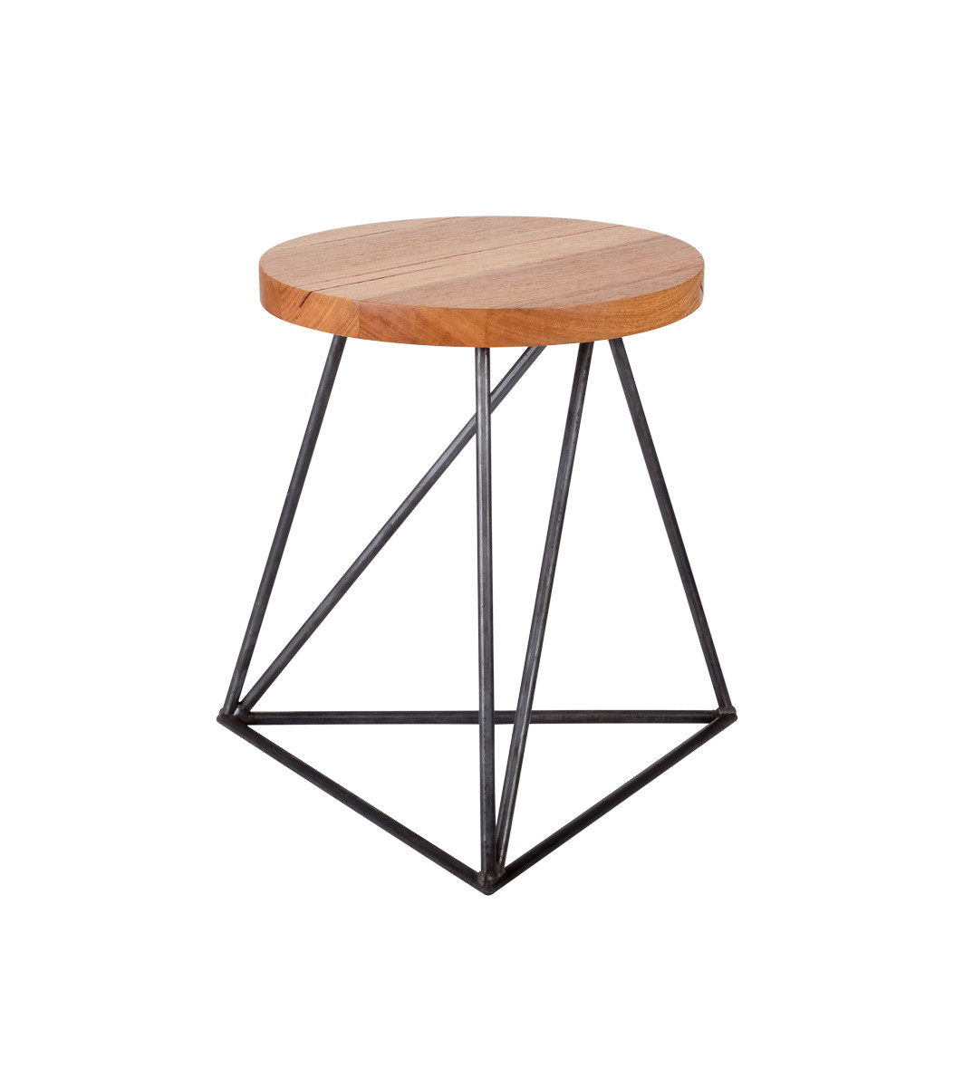 Furniture stools Hairpin Legs Stool industrial triangle 90 degree view round top