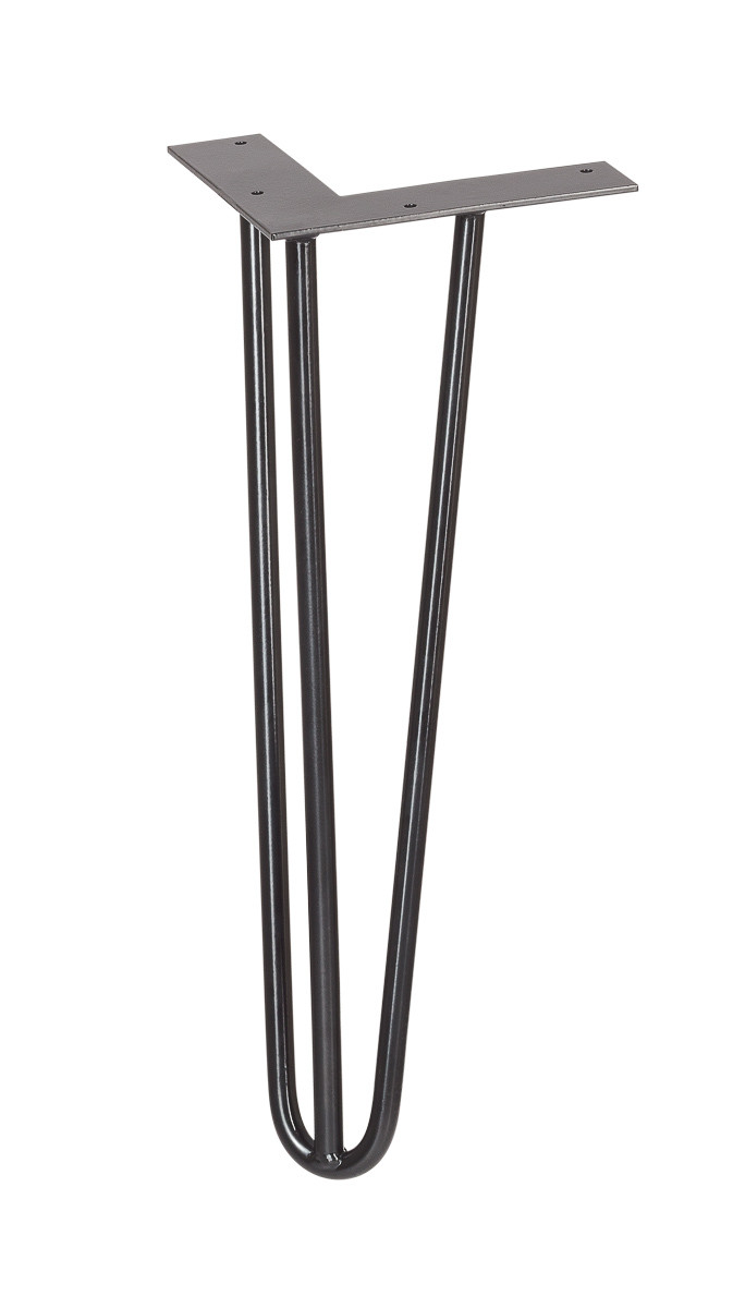 Furniture legs Hairpin Legs pin small black three bars side view