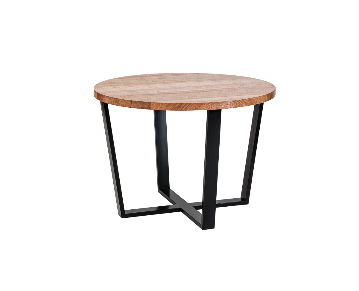 Round table with cross legs straight 45 view