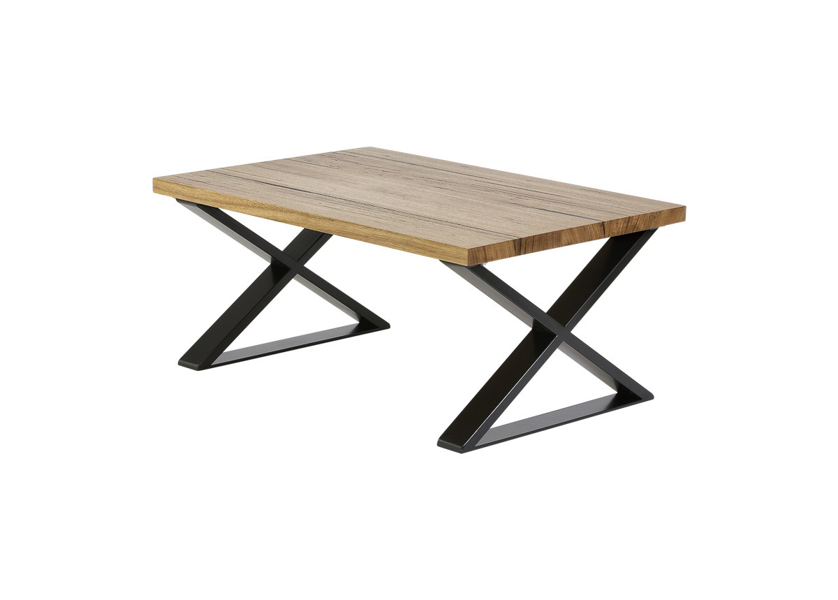 Small table BLACK crossed legs SIDE