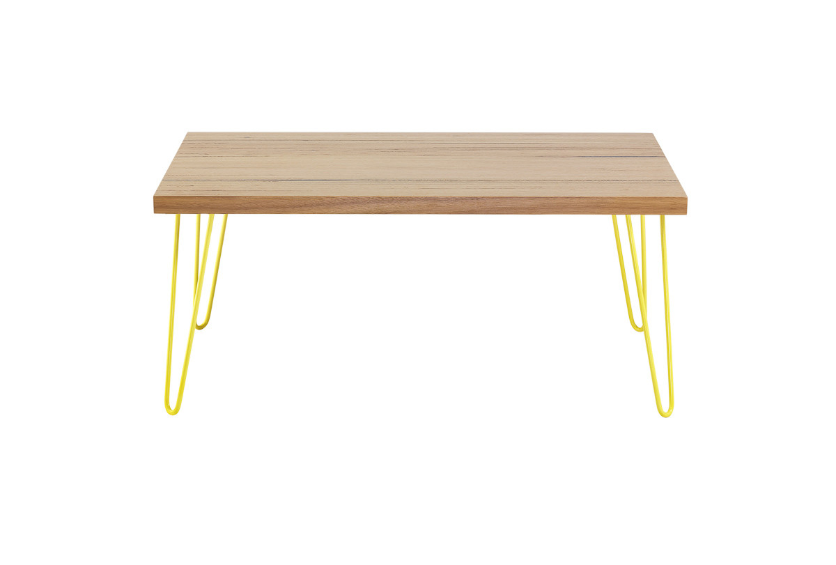 Small table YELLOW hairpin 2 legs front view