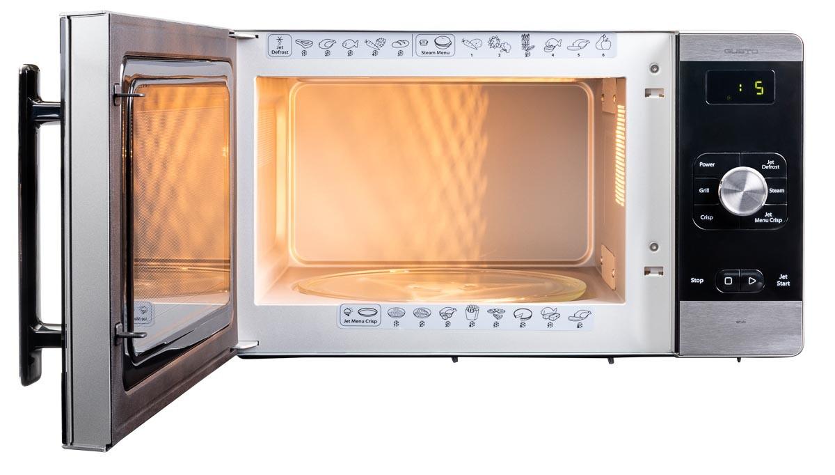Microwave front view full door open lights on