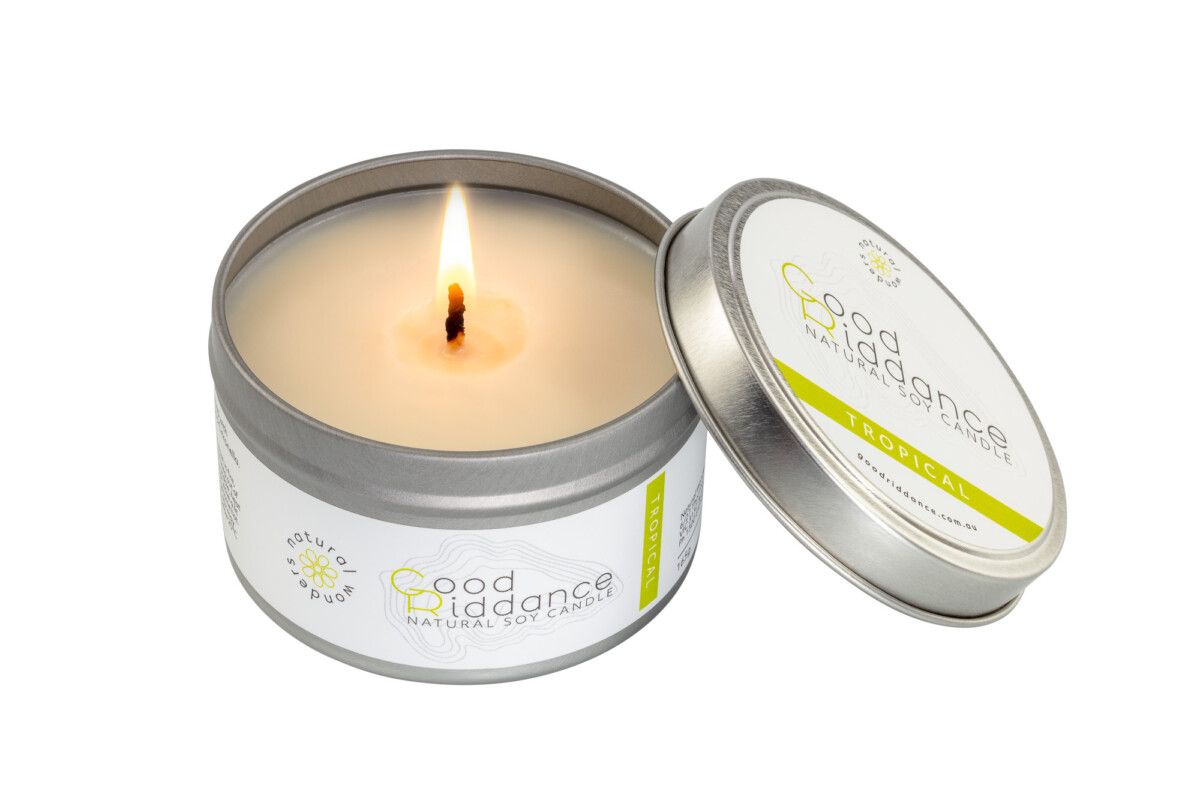 Good Riddance Candle single front Open With Flame - Product photography