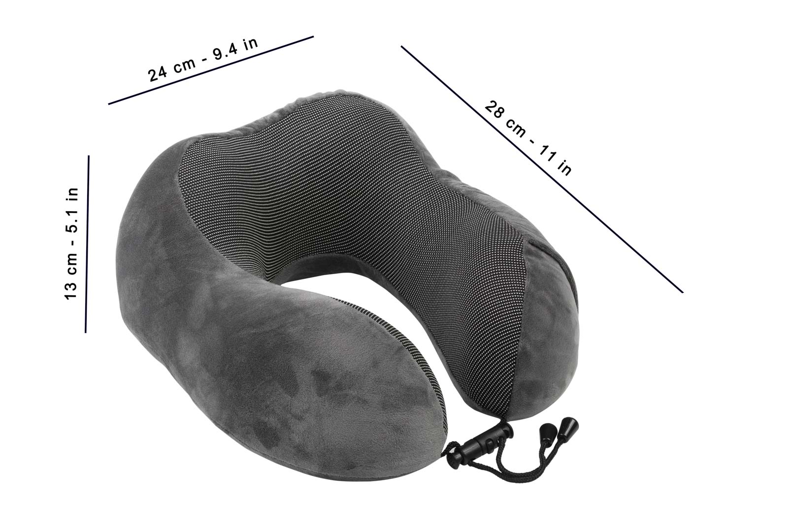Jera Travel Pillow with measurements for Amazon website