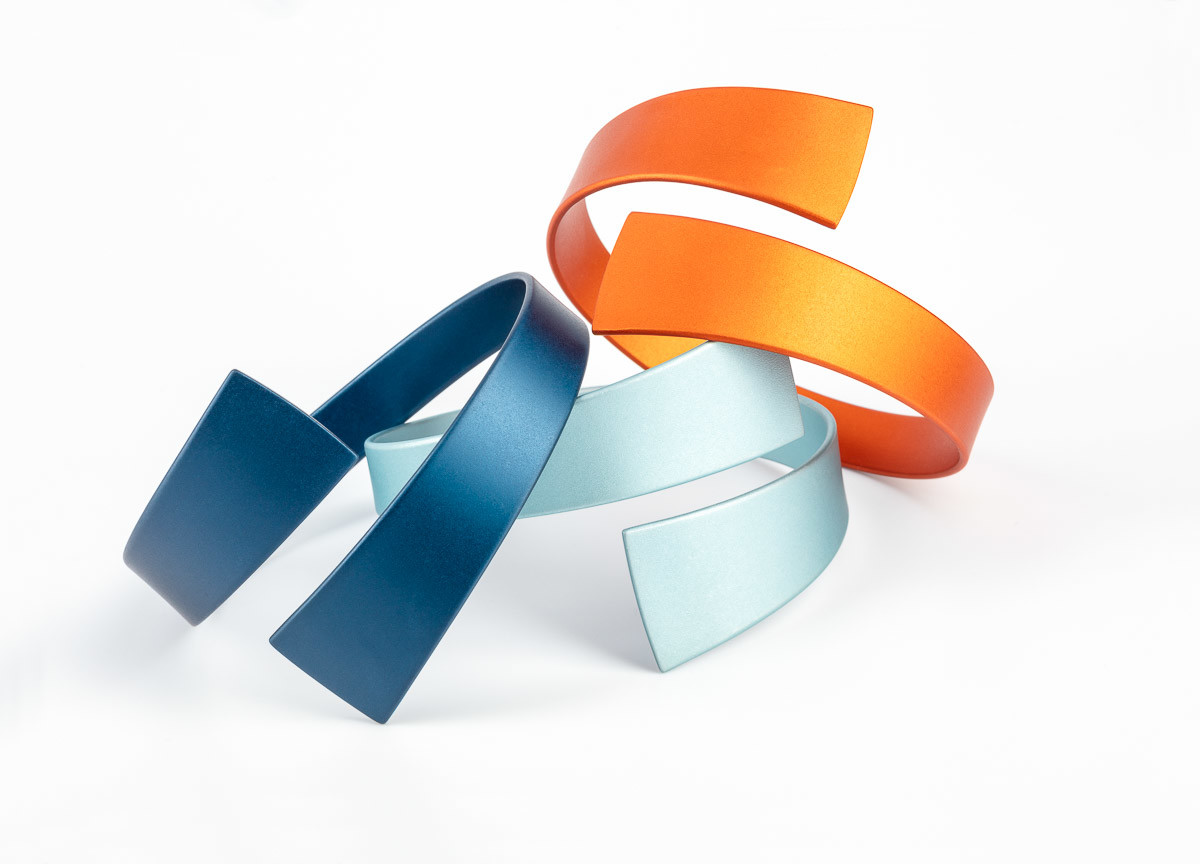 Kalinowski Jewellery 2018 collection_light and dark blue with orange bangle group
