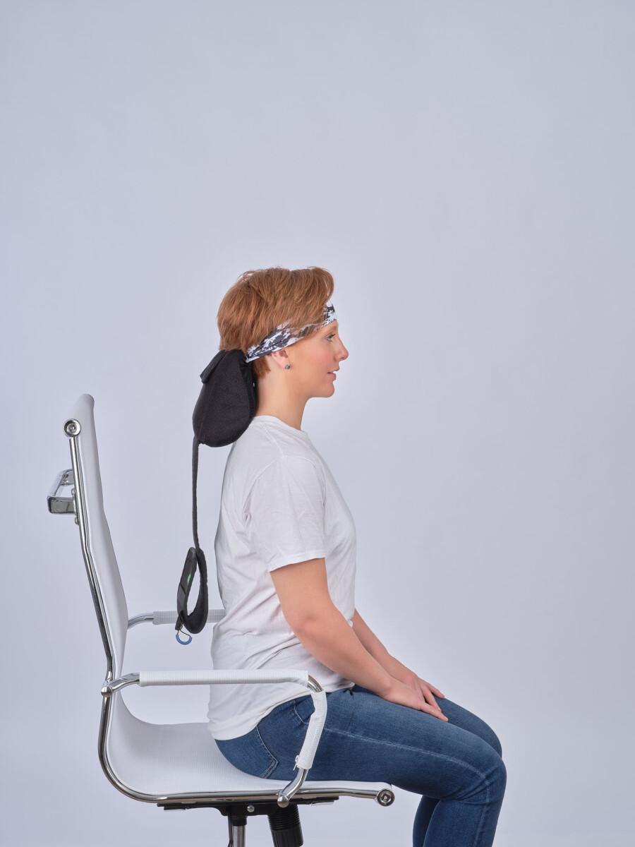 Model standing with product in head Step 5-Advertising Product Photography