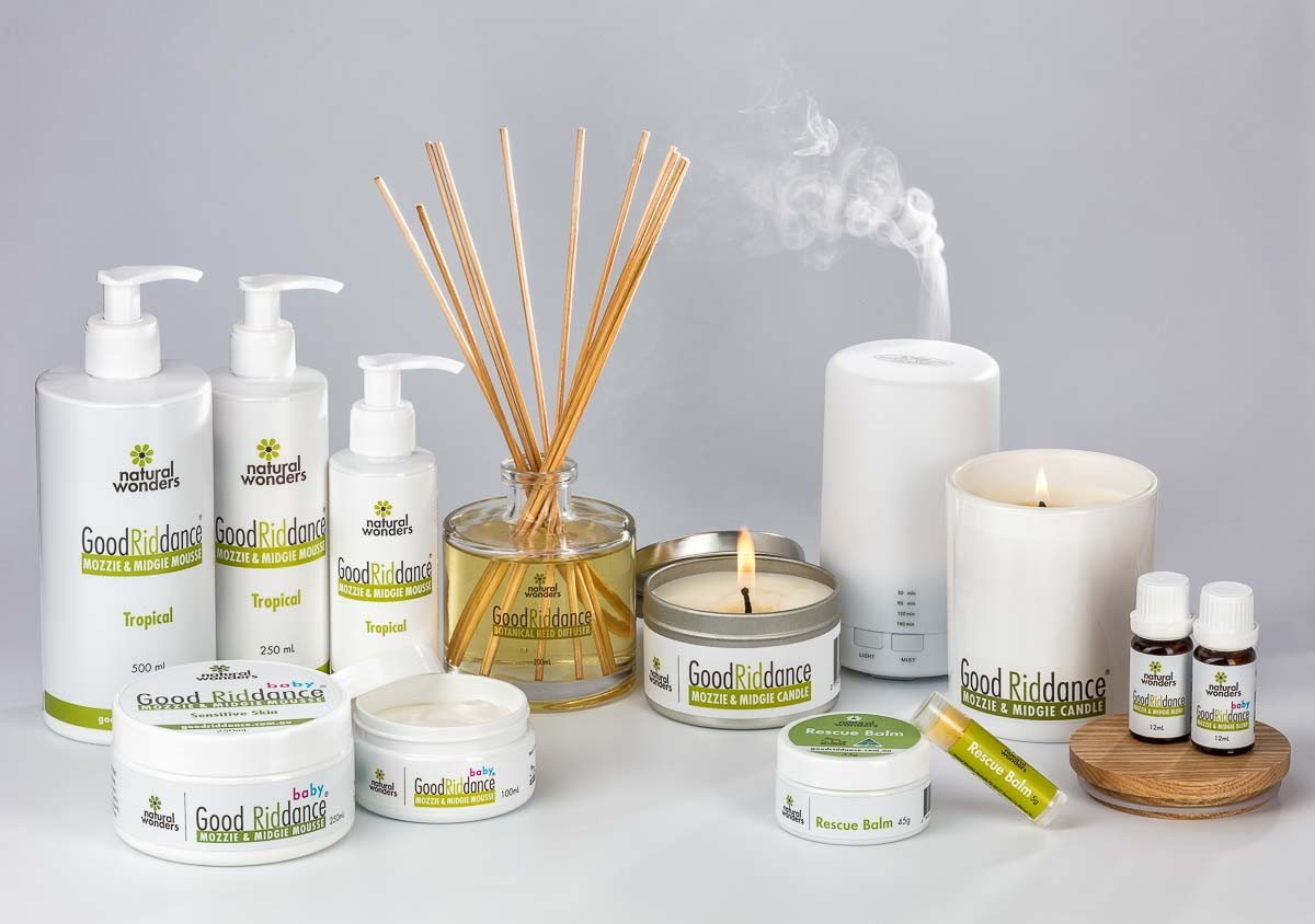 Mosquito repellent products_Nature Wonders Group photo with flames and smoke